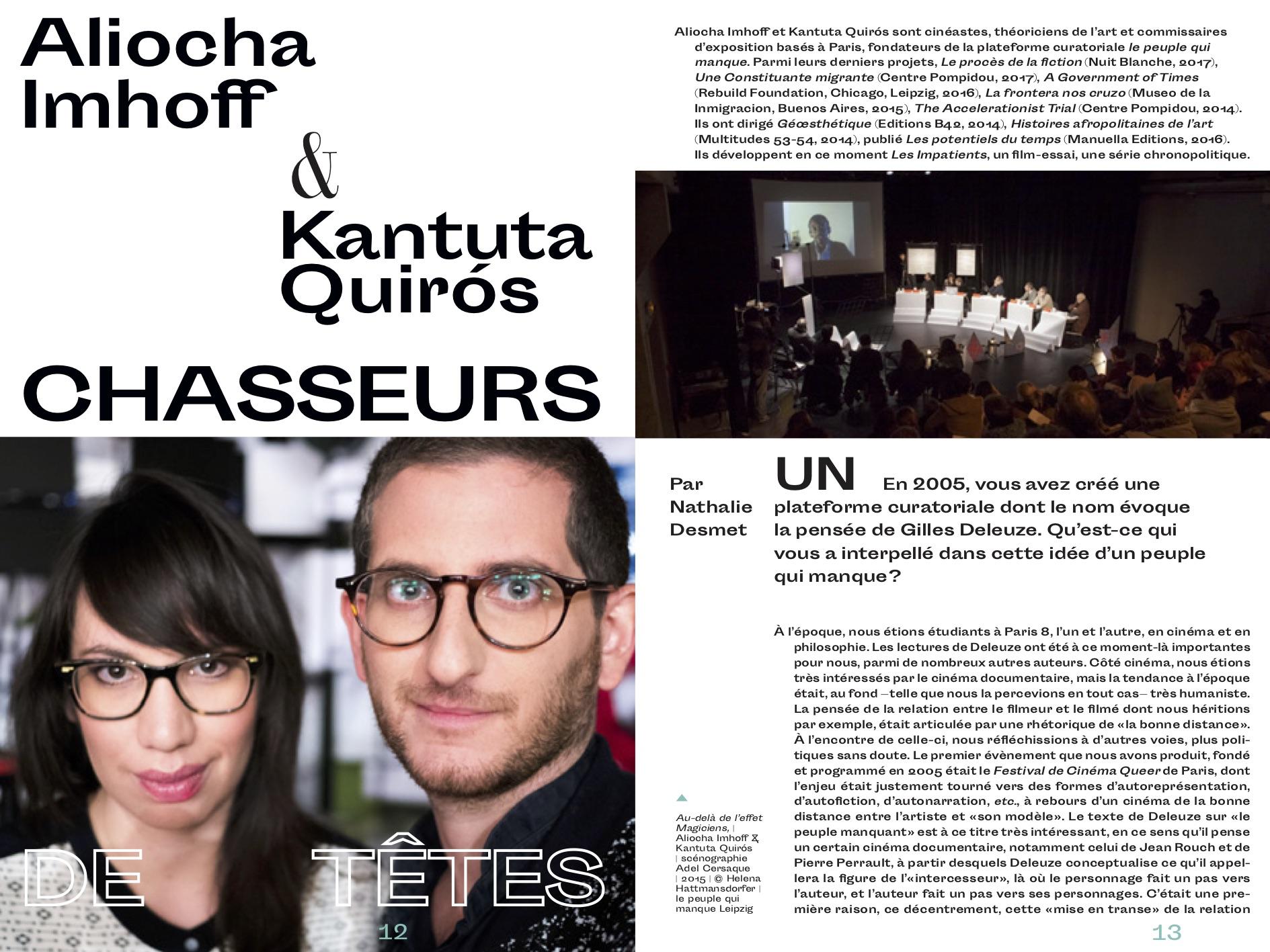 ARTICLE> Aliocha Imhoff & Kantuta Quirós (chasseurs de têtes), leChassis 4