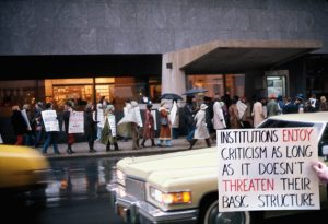 Carole Condé & Karl Beveridge, Cultural Signs: Protest of Bi-centennial Exhibition (Rockefeller Collection) at Whitney Museum, New York, 1975. Photo: courtesy of the artists